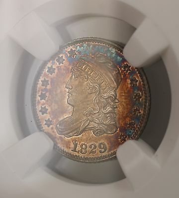 1829 Proof Capped Bust Silver Half Dime 5c Coin NGC MS-64 Toned (Proof) RARE GKG