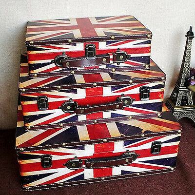 British Flag Luggage Trunk Treasure Storage Box Vintage Suitcase Retro Chest