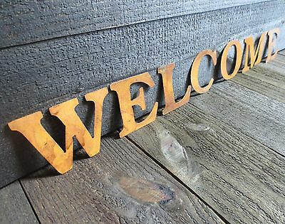 Rusty Letters Spelling WELCOME Rustic Country Rusted Tin Crafts Sign SHIPS FREE!