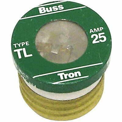 Cooper Bussman TL-25 Time Delay Base Plug Fuse 25Amp -4PK Green