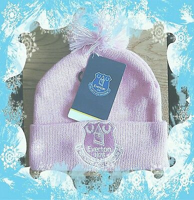 Official Everton FC Pink and White Baby Bobble Hat One Size