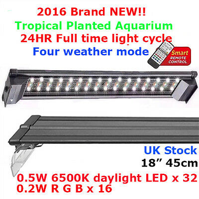 AQUARIUM LED OVERTANK LIGHT PLANTED TANK LED LIGHTING EXTENDABLE 45cm AQUASCAPE