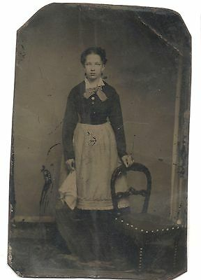 Rare Early Victorian Maid Housekeeper Servant Antique Tintype Occupational Photo