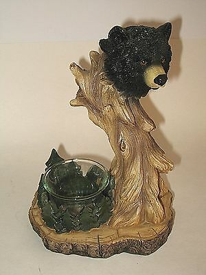 Resin Black Bear on Tree Tea Candle Holder