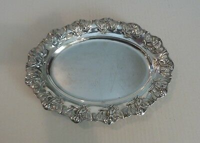 """Nice German 800 Silver Art Nouveau Chased & Pierced 12.5"""" Oval Tray"""