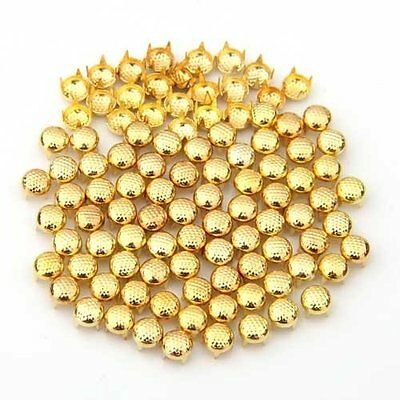 100 Studs Pyramid Gold color metal round 6 * 5MM LW