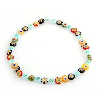 String of beads Murano Lampwork Glass Multicolor 10mm LW