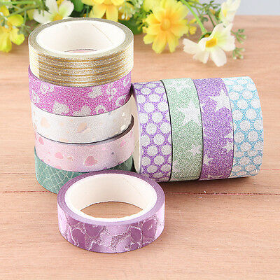 10x DIY Self Adhesive Glitter Washi Masking Tape Sticker Craft Decor 15mmx3m