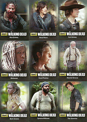 Walking Dead Season 4 Part 1  - Character Bios - Chase Card SET (9) - 2016 - NM
