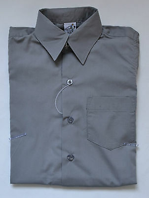 NEW unisex Short Sleeve School Formal Shirt Grey size 5,6,8,10,12,14,16
