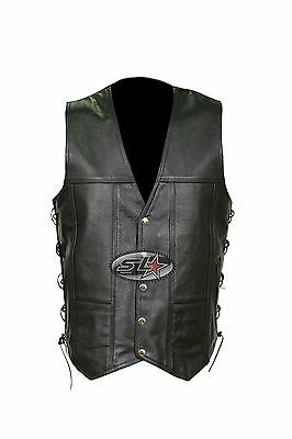 New Mens Real Leather Motorcycle/Biker Side Laced Up Waistcoat-Side Zip Pockets