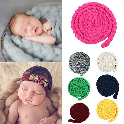 Newborn Baby Infant Photography Props Photo Posing Knitting Wool Blanket 0-12 LS