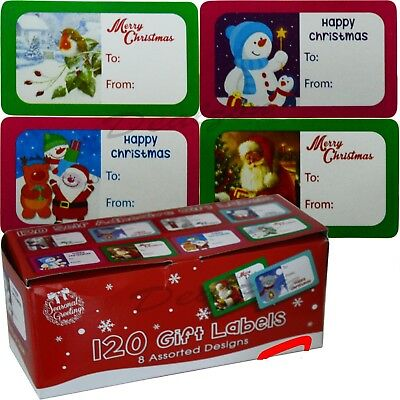 120 Christmas Gift Labels Cute 8 Assorted Design Self Adhesive Tags Xmas New
