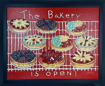 Bakery Is Open Painting Art Wall Hanging 26x32 Red Sign Pies Shop Kitchen Framed