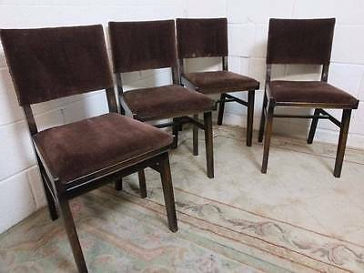 4 x 1950's SOLID OAK PADDED BACKED SEAT KITCHEN DINING CHAIRS.