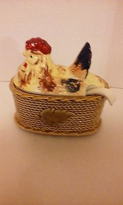 Vintage Rossini Hen On Nest Tureen With Spoon Made In Japan Ceramic