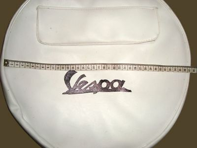 "8"" Vespa Spare Wheel Cover White + Pocket With Logo New @ Classic Spare Parts"