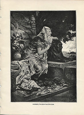 Rhadope, Egyptian Princess. Ferdinand Keller. Antique 1892 wood engraving print.