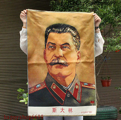 "36"" China Silk Cloth U.S.S.R. Politician Leader Stalin Thangka Embroidery Mural"