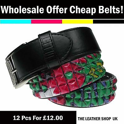 Wholesale Offer Lot Of Dozen Mix 12 Pcs UK Pyramid Studded Fashion Belt PF16