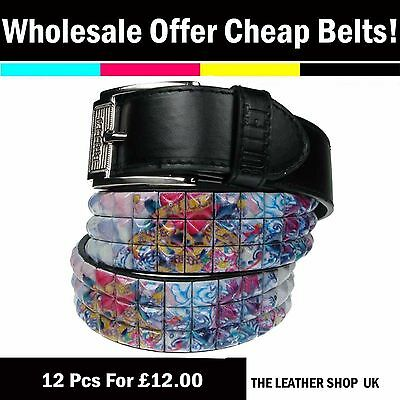 Wholesale Job Lot 12 Pcs Mixed Assorted Sizes PU Leather Belt Cheap Offer PF19