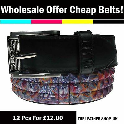 Wholesale Offer Lot Of Dozen Mix 12 Pcs UK Pyramid Studded Fashion Belt PF20