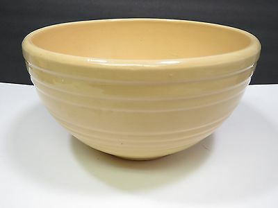 """Vtg McCoy Art Pottery Country Kitchen Ribbed Beehive Large 10"""" Mixing Bowl Cream"""