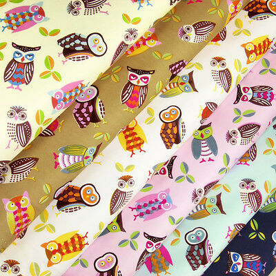 Cotton Fabric per FQ Retro Funky Owl Bird Children Cartoon Quilt FabricTime VA39