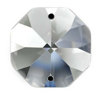 Set of 10 - 28 mm - Clear Asfour Crystal 1080 Octagon Crystal Prisms, 2 Hole