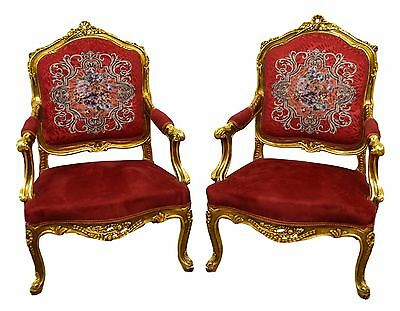 Pair of Carved Gilt Gold French Style Wide Seat Bergere Lounge Arm Chairs