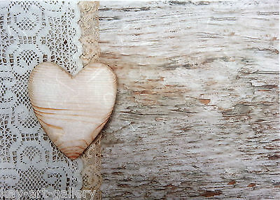 Rice Paper for Decoupage Decopatch Scrapbooking Sheet Craft Vintage Wooden Heart