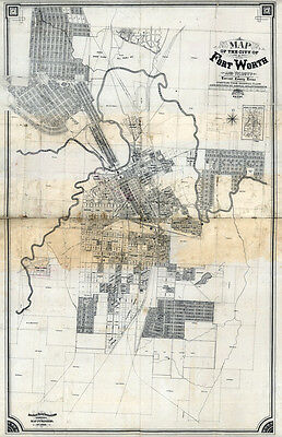 1880 Map of Fort Worth Texas LARGE 35 x 55