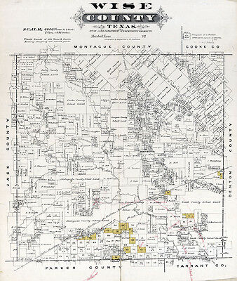 1870 Map of Wise County Texas