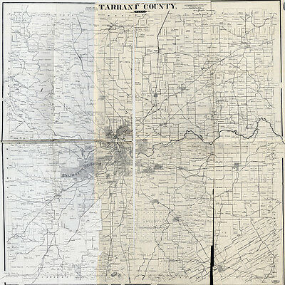 1892 Map of Tarrant County Texas Fort Worth