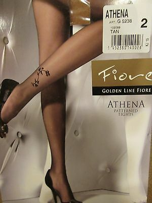 Fiore Athena Above Ankle Floral  Design 20 Denier Pantyhose Tights Size 2