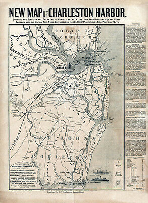 1863 Map of Charleston Harbor South Carolina