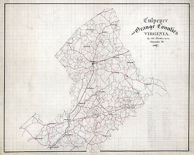 1867 Map of Culpeper and Orange County Virginia