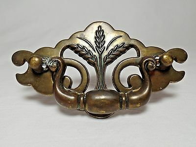 Modern Antiqued Brass Wheat 2 Piece Drawer Pull Cont.B. 1342