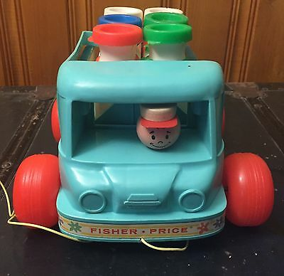 Vintage Fisher Price Milk Wagon 1965 #131 Pull String Toy, Complete