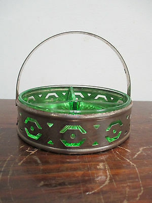 Vintage Art Deco Depression Era Divided Green Glass Candy Dish With Metal Holder
