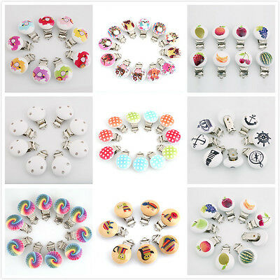 5pcs Round Mixed Pattern Wood 3 Holes Baby Pacifier Clip Metal Holders Soother D