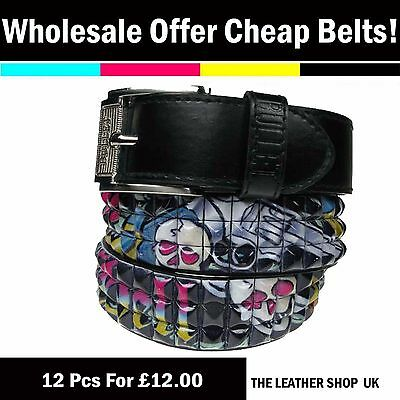 Bullet69 Mixed 12 pcs Wholesale Lot Mens Womens UK Fashion Studded Belt PF26