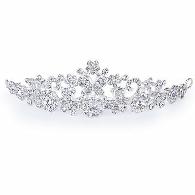Wedding Bridal Prom Rhinestone Butterfly Love Corollas Headband Veil Tiara LW