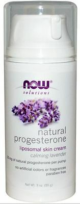 Natural Progesterone Body/Skin Cream - Now Solutions, 85g, Calming Lavender