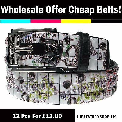 UK Clearance Offer Wholesale Job Lot Gothic Studded Belt Mix Assorted Sizes PF45