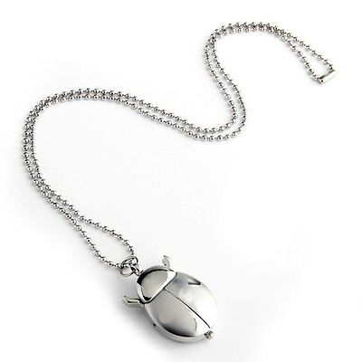 Silver Pocket Watch Necklace Ladybug Openings LW