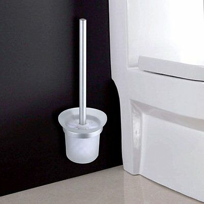 Home Wall Mount WC Bathroom Cleaning Aluminum Toilet Bowl Brush with Holder Set