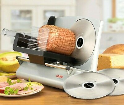 Cooks Professional Electric Food Slicer Meat Cheese Bread Cutter 19cm 3 Blades