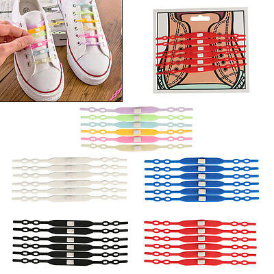 Easy No Tie Elastic Silicone Shoe Lace Trainers Canvas Shoes Lazy Shoelaces 6pcs