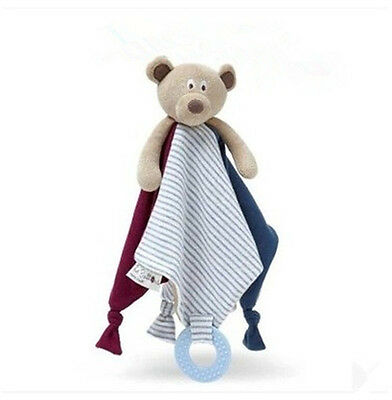 Baby Kids Rattle Comforter Teething Blanket Teddy Snuggle Bear Security Soft Toy